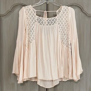 Entro Crochet Blouse Light Pink and White